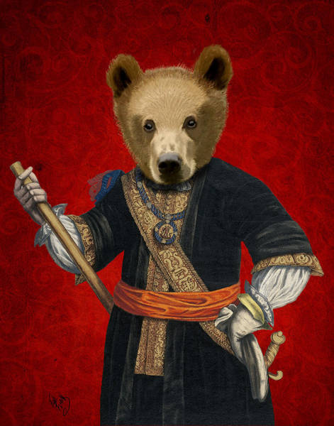 Regal Digital Art - Bear In Blue Robe by Kelly McLaughlan