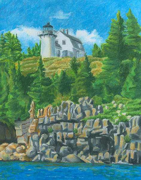 Drawing - Bear Island Lighthouse by Dominic White