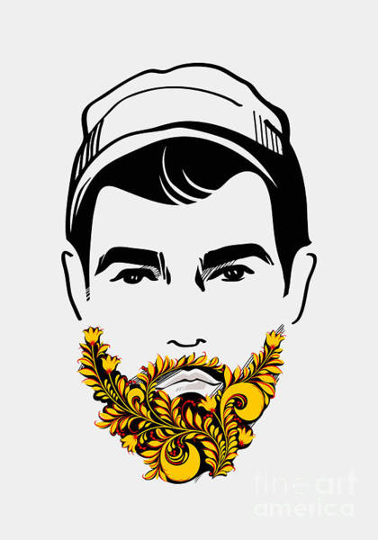 Wall Art - Digital Art - Beard And Mustache Man. Traditional by Pevuna