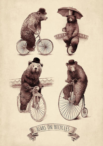 Bike Digital Art - Bears On Bicycles by Eric Fan