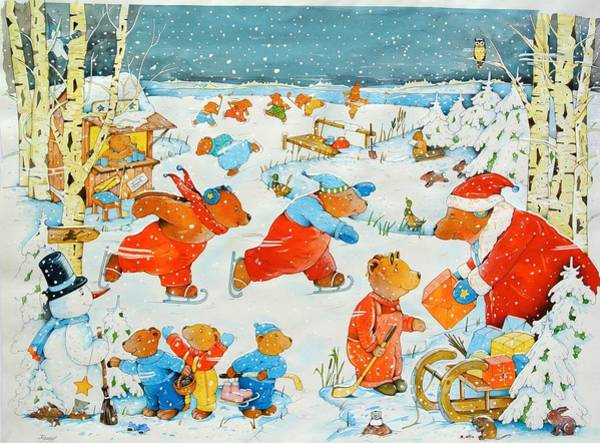 Snow Flake Photograph - Bears On The Ice, 2009 Wc On Paper by Christian Kaempf