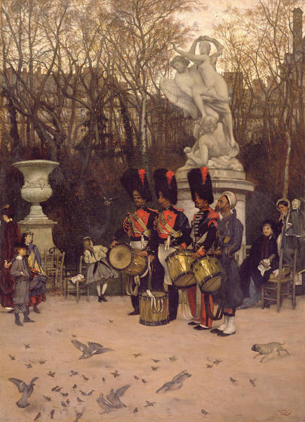 Photograph - Beating The Retreat In The Tuileries Gardens, 1867 Panel by James Jacques Joseph Tissot