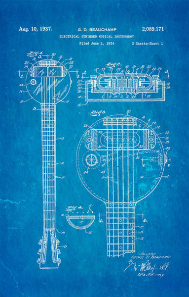 Electric Guitar Wall Art - Photograph - Beauchamp First Electric Guitar Patent Art 1937 Blueprint by Ian Monk