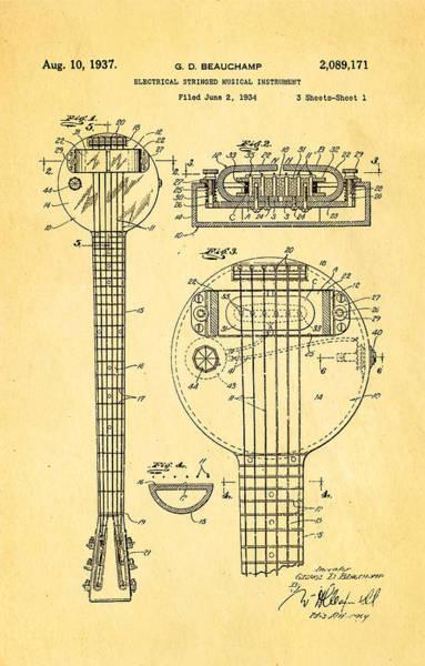 Wall Art - Photograph - Beauchamp First Electric Guitar Patent Art 1937 by Ian Monk