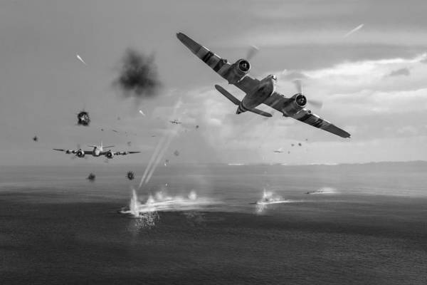 Photograph - Beaufighters Attacking E-boats Black And White Version by Gary Eason