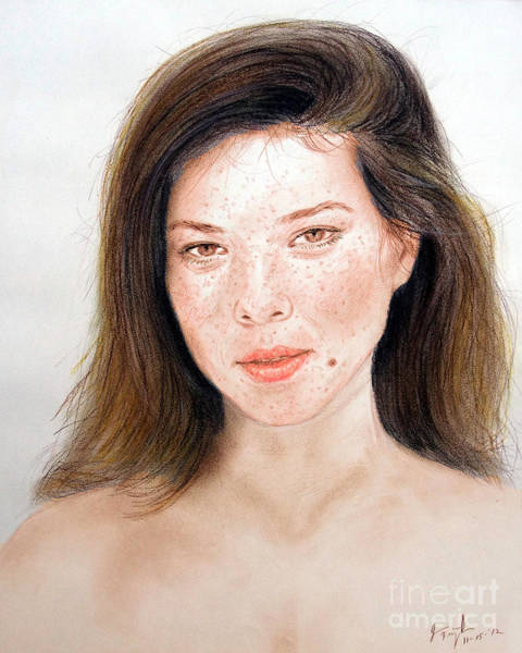 Freckle Drawing - Beautiful Actress Jeananne Goossen by Jim Fitzpatrick