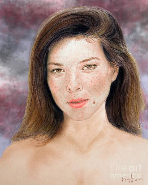 Freckle Drawing - Beautiful Actress Jeananne Goossen Updated Version by Jim Fitzpatrick