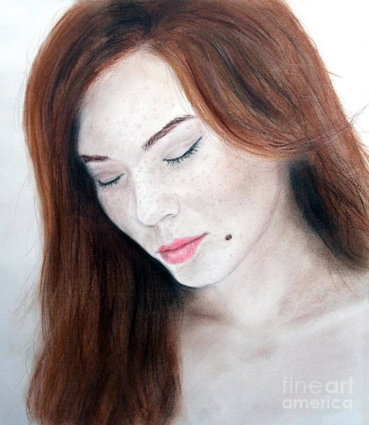 Freckle Drawing - Beautiful And Sexy Actress Jeananne Goossen II by Jim Fitzpatrick