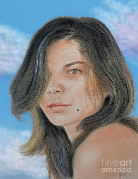 Freckle Drawing - Beautiful And Sexy Actress Jeananne Goossen IIi Altered Version by Jim Fitzpatrick