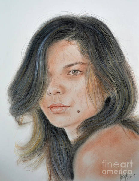 Freckle Drawing - Beautiful And Sexy Actress Jeananne Goossen IIi  by Jim Fitzpatrick
