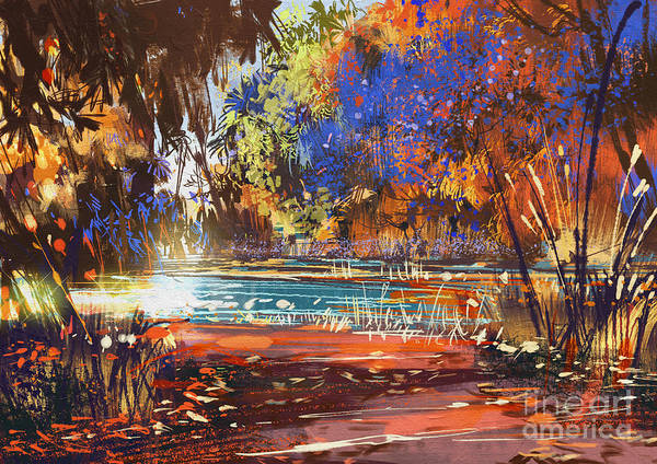 Lake Digital Art - Beautiful Autumn Landscape With Flowers by Tithi Luadthong