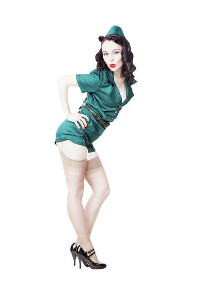 Wall Art - Photograph - Beautiful Brunette Pin-up Girl Swinging by Oleg Zabielin
