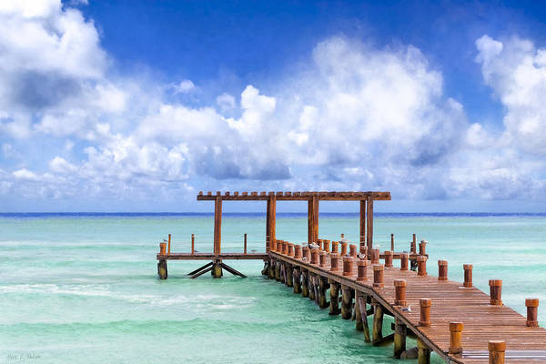 Photograph - Beautiful Caribbean Sea Pier - Playa Del Carmen by Mark E Tisdale