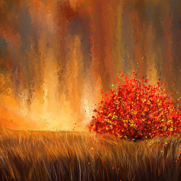 Lone Tree Painting - Beautiful Change- Autumn Impressionist by Lourry Legarde
