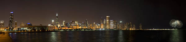Photograph - Beautiful Chicago Skyline With Fireworks by Adam Romanowicz