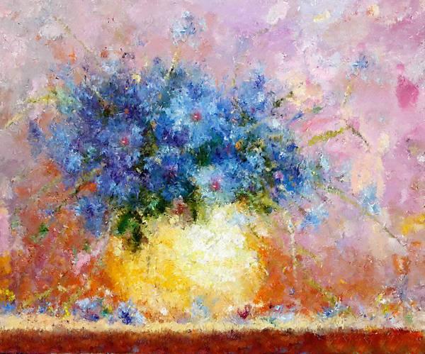Blue Cornflower Painting - Beautiful Cornflower Expressionism by Isabella Howard