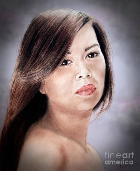 Filipino Drawing - Beautiful Filipina Woman Fade To Black Version by Jim Fitzpatrick