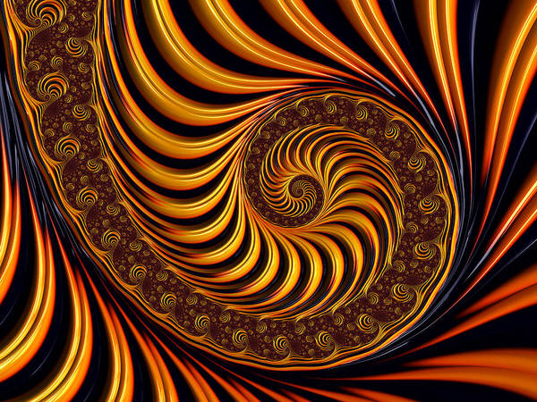 Warm Digital Art - Beautiful Golden Fractal Spiral Artwork  by Matthias Hauser