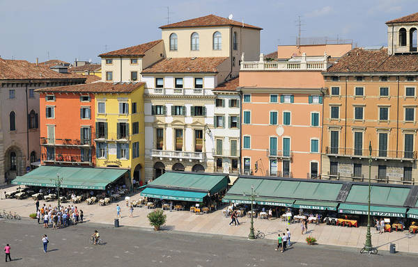 Photograph - Beautiful Houses On Piazza Bra Verona Italy by Matthias Hauser
