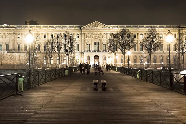 Photograph - Beautiful Louvre Museum Viewed From The Pont Des Arts At Night by Mark E Tisdale