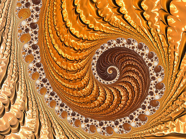 Digital Art - Beautiful Luxe Golden And Brown Spiral by Matthias Hauser