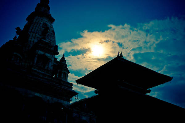 Photograph - Beautiful Night Scene In Old Town Bhaktapur by Raimond Klavins