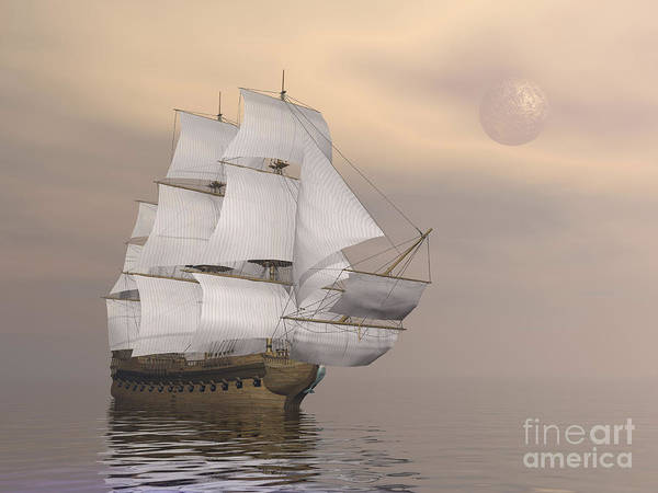 Schooner Digital Art - Beautiful Old Merchant Ship Sailing by Elena Duvernay