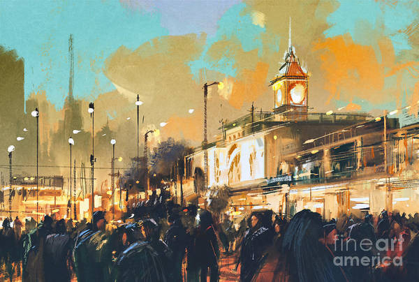 Buildings Digital Art - Beautiful Painting Of People In A City by Tithi Luadthong