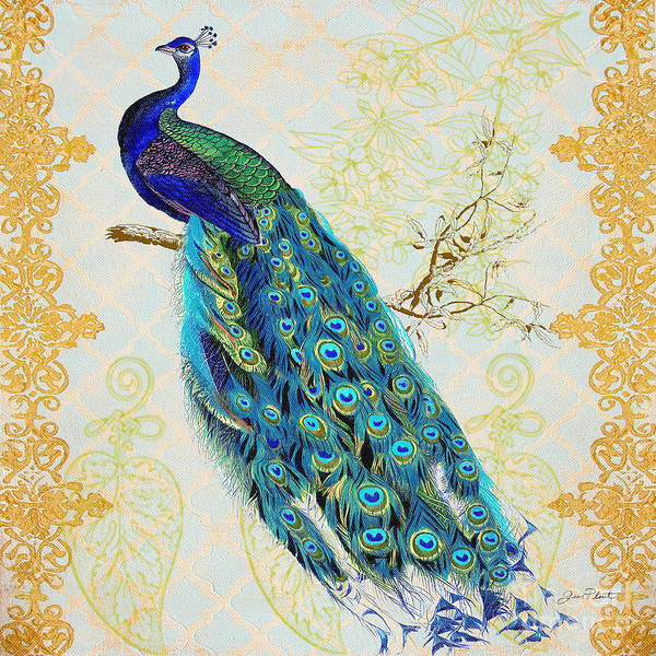 Peacocks Painting - Beautiful Peacock-b by Jean Plout