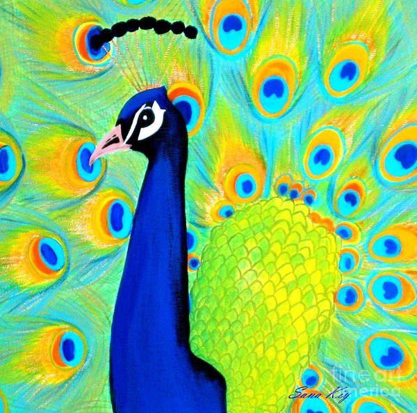 Painting - Beautiful Peacock Card by Oksana Semenchenko