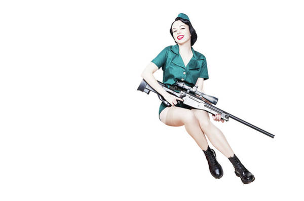 Wall Art - Photograph - Beautiful Pin-up Girl With Sniper by Oleg Zabielin