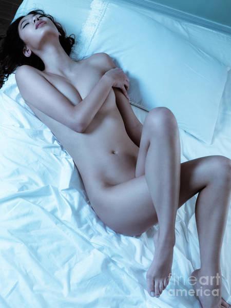 Wall Art - Photograph - Beautiful Sexy Nude Woman Lying On White Sheets by Oleksiy Maksymenko