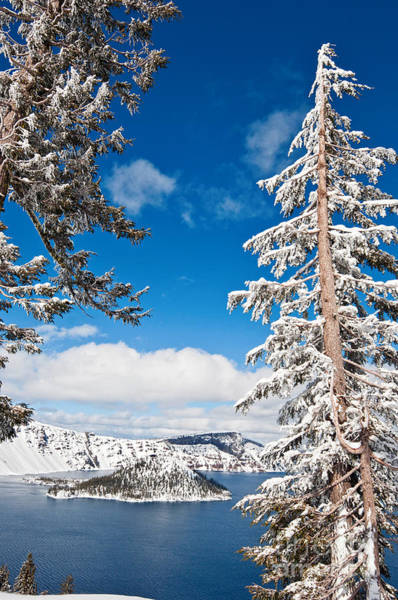 Crater Lake Photograph - Beautiful View Of Crater Lake Covered In Snow In The Winter. by Jamie Pham