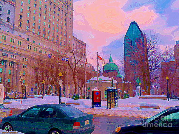 Quebec Flag Painting - Beautiful Winter Day Dominion Square Park Place Du Canada Downtown Montreal City Scene C Spandau by Carole Spandau