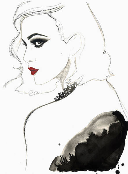 Eyelashes Wall Art - Digital Art - Beautiful Woman Wearing Red Lipstick by Jessica Durrant