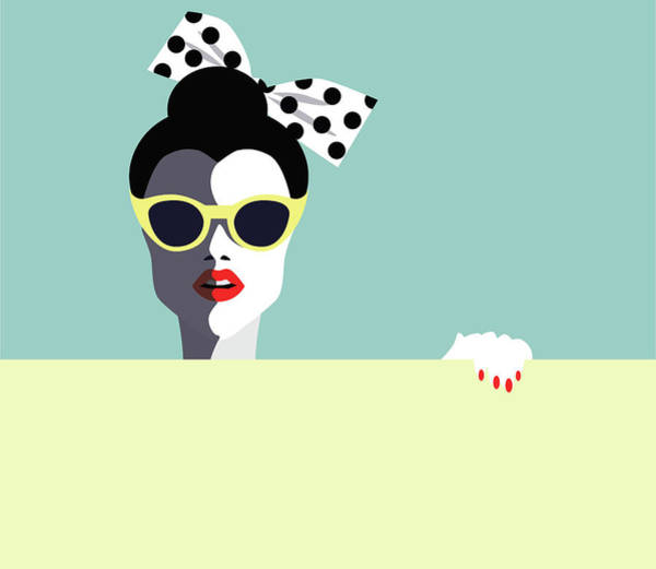 Human Face Digital Art - Beautiful Young Woman With Sunglasses by Ralwel