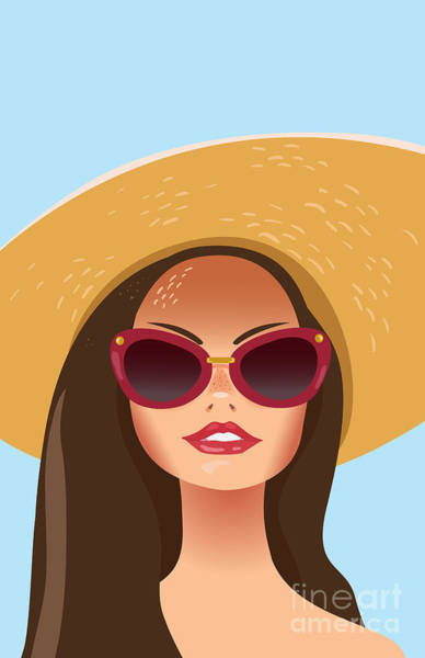 Dive Digital Art - Beautiful Young Woman With Sunglasses by Salvadorova