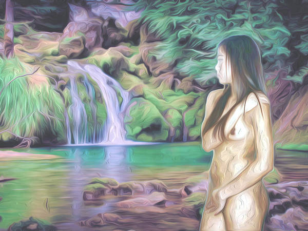 Nudes Wall Art - Photograph - Beauty By The Falls by Oscar Del Mundo