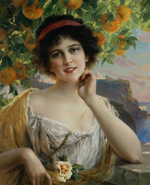 Digital Art - Beauty Under The Orange Tree by Emile Vernon
