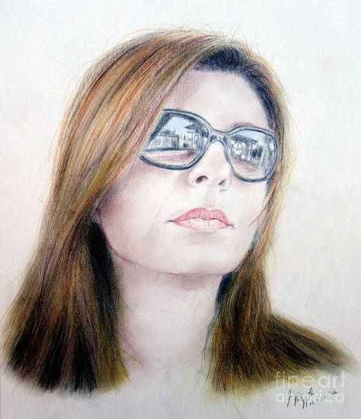 Freckle Drawing - Beauty Wearing Sunglasss  by Jim Fitzpatrick