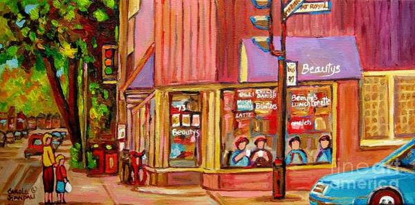 Luncheonettes Painting - Beauty's Cafe Plateau Montreal Street Scene Brunch Deli Paintings Carole Spandau by Carole Spandau