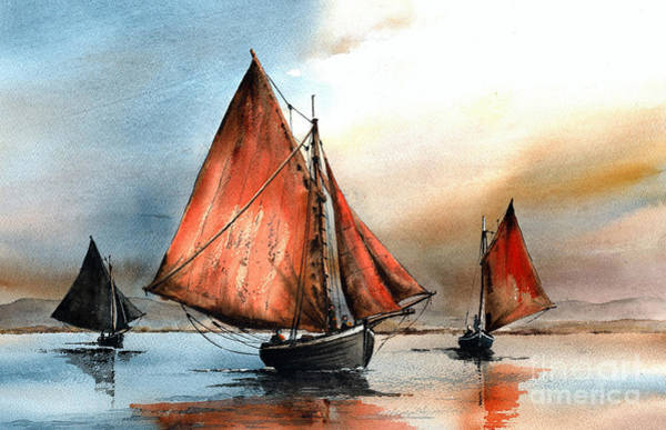 Painting - Becalmed On Galway Bay by Val Byrne