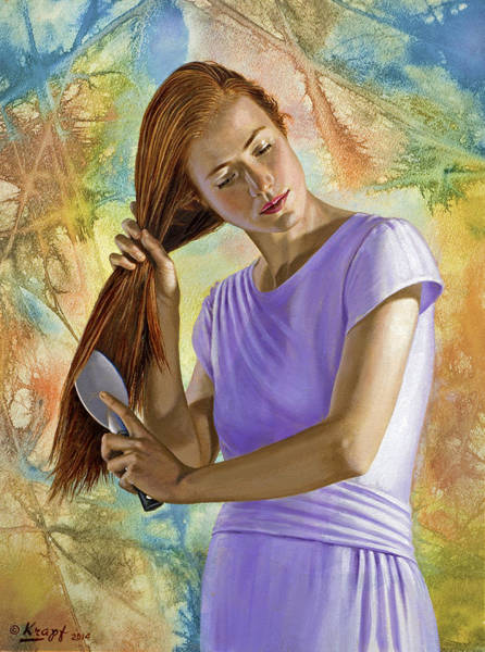 Background Painting - Becca Brushing Her Hair by Paul Krapf