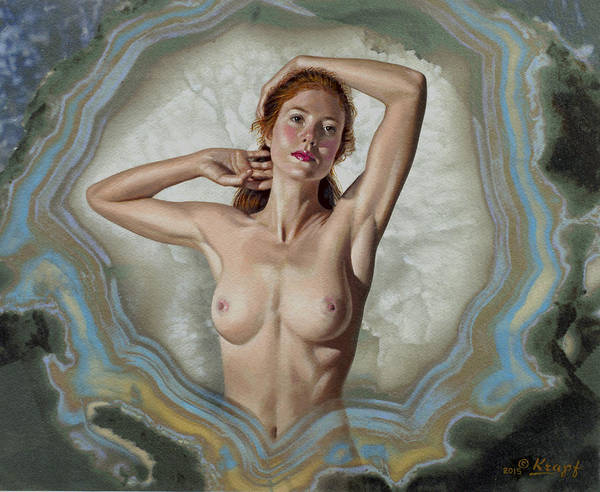Background Painting - Becca In Geode by Paul Krapf