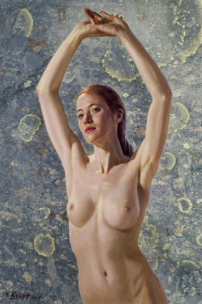 Nude Female Painting - Becca In Lichen Rock by Paul Krapf