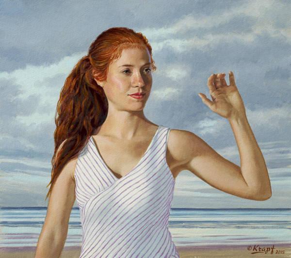 Head Painting - Becca Waving by Paul Krapf