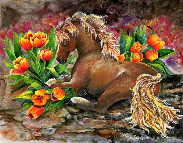 Painting - Bed Of Tulips by Sherry Shipley
