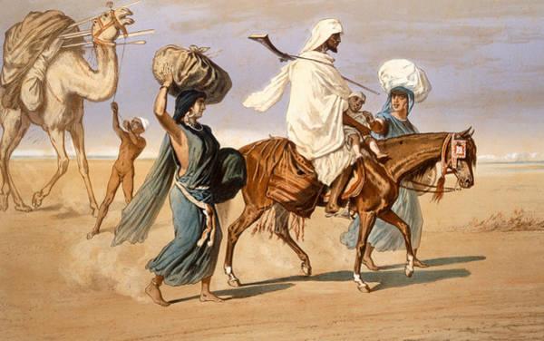Arab Horse Painting - Bedouin Family Travels Across The Desert by Henri de Montaut