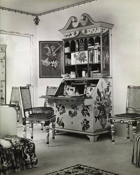 Desk Photograph - Bedroom By Lady Mendl In Beverly Hills by Fred R. Dapprich