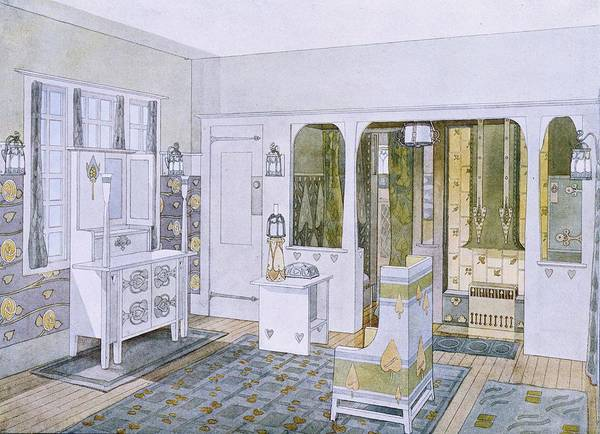 Interior Drawing - Bedroom Designed By Will Bradley by .